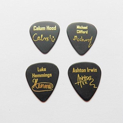 5Seconds of Summer 5SOS 4x Autograph 2x logo oro timbro plettro per chitarra