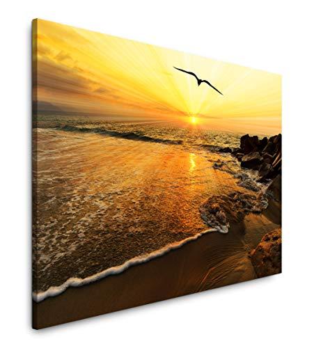 Paul Sinus Art Sonnenuntergang Vogel Silhouette 180 x 120 cm Inspirierende Fotokunst in Museums-Qualität für Ihr Zuhause als Wandbild auf Leinwand in XXL Format -