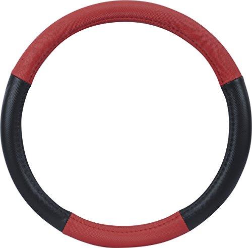 Preisvergleich Produktbild hr-imotion Design Lenkradbezug für Lenkräder zwischen 37 bis 39 cm Durchmesser in schwarz / rot  [5 Jahre Garantie | Griffsicher | Schweißregulierend | Design in Germany] - 10810901