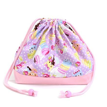 Teddy bear and suites (medium size) with gusset lunch bag polka dot drawstring Gokigen lunch (lilac) x Ox pink made in Japan N3462600 (japan import)