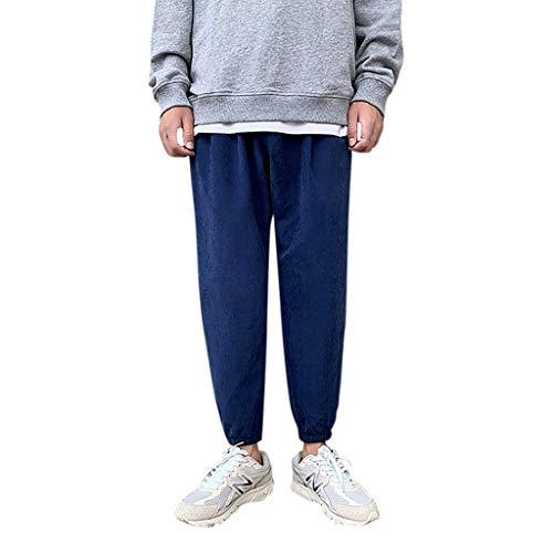 HuaMore Herren Einfarbig Flachs Retro Hose Persönlichkeit Mode Gedruckt Bequeme Hosen