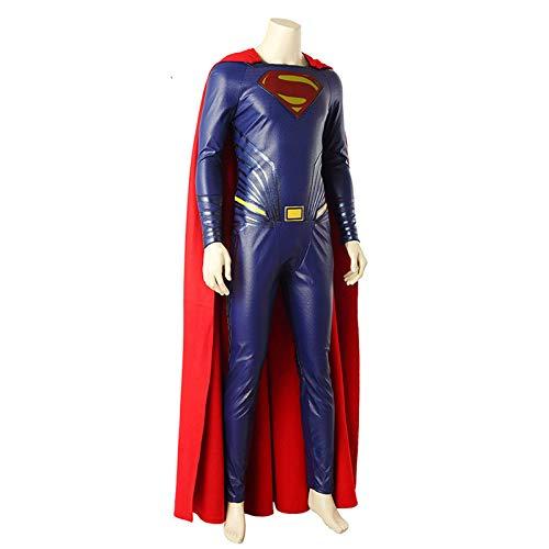 BLOIBFS Halloween Superman Herren,Weihnachten Superheld PU-Leder Kostüme Fasching Kostümparty Bodysuit Mit Umhang,Superman-L