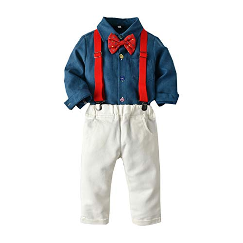 Cuteelf Langärmliges einfarbiges Hemd mit Fliege für Kinder + einfarbiger Latzhosenanzug Gentleman Baby Boy Gentleman-Jacken-Hosenträger mit einfarbiger T-Shirt-Fliege (2019 Für Halloween-kostüme Gute Jungs)