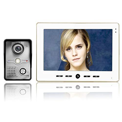 YUEC Talkie-Walkie-Video-Sonnette, Intercom-Intercom-Interphone-Sprechfunkgerät 1 Kamera 2 Sonneries von 10 Personen, Monitore de Vision Nocturne, Nocturne de sécurité à Domicile,B