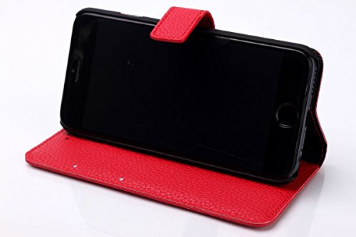 Apple iPhone 6 - Various Designs Premium Quality Leather / Hardcase / Gel / Silicone / Durable / Transparent / Clear / Wallet / Credit Card Holder Flip Case Bumper Stand Cover includes a Stylus Touch  Texture litchi - Rouge