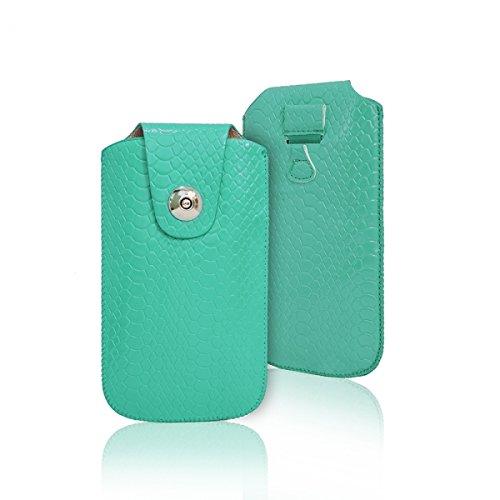 """Handytasche grün im Kroko Style geeignet für \""""LG K10\"""" Handy Tasche Schutz Hülle Slim Case Cover Etui mit Magnetverschluss"""
