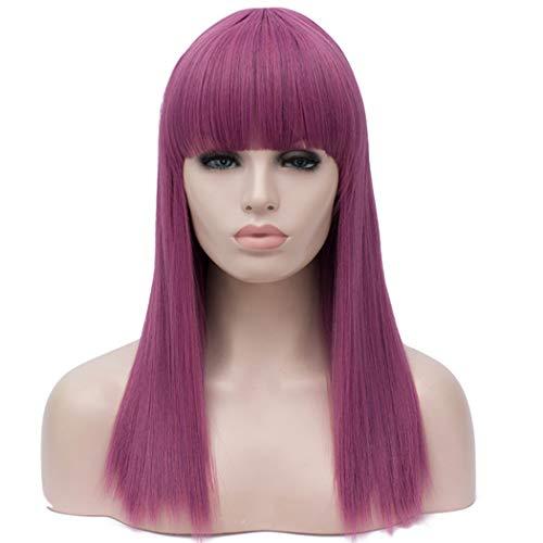 Kostüm Perücke Lila - TANTAKO® Lange Gerade Hell Lila Perücken für Frauen Damen Volles Haar Synthetische Perücken mit Bang für Cosplay Kostüm und Tageskleid