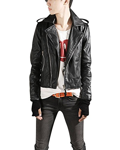 645552ff9520 Herren PU Leder Jacke Biker-Stil Lederjacke Revers Mantel Slim Fit Kurzer  Absatz Ledermantel Schwarz XL