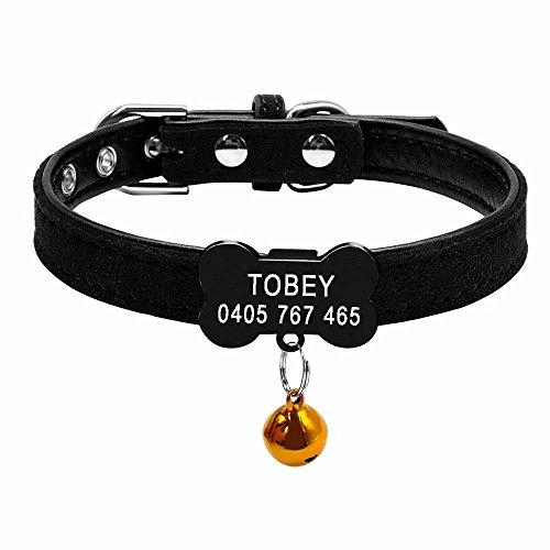 Didog Weiches Wildleder Personalisierte Custom Schwarz Pet Halsband, Knochenform slippable Gravur ID Tag Halsband, Perfekt für Welpen Kleine Hunde