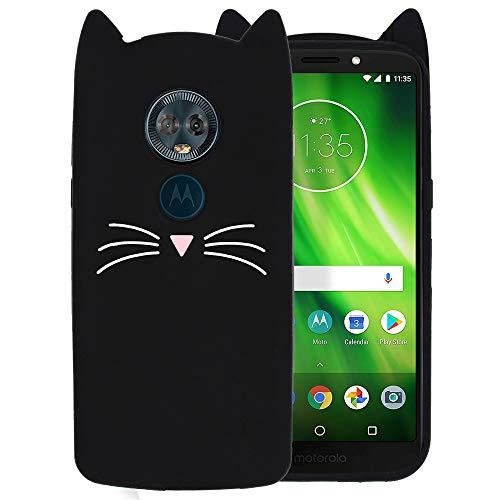 Ash-case Hülle für Motorola Moto G6 Play - 3D Silikon Backcover Case Handy Schutzhülle - Cover klar Katze Design Schwarz Weiß -