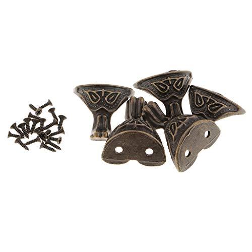 Descripción: - 5 piezas / paquete color bronce antiguas criaturas míticas con forma de patas / pies de muebles. - Adecuado para diferentes cajas de madera, cofres para joyas, protección de madera para esquinas, la protección de su ca...