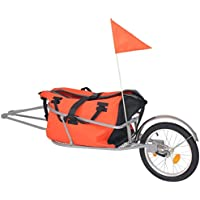 vidaXL Bike Luggage Trailer with Bag Orange and Black Suitcase Cargo Cart