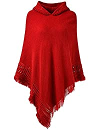 b7d3b319ed94 BienBien Femme Pélerine à Capuchon Châle Poncho à Capuche Élégant Pull  Crochet Tricote Echarpe avec Irrégulière