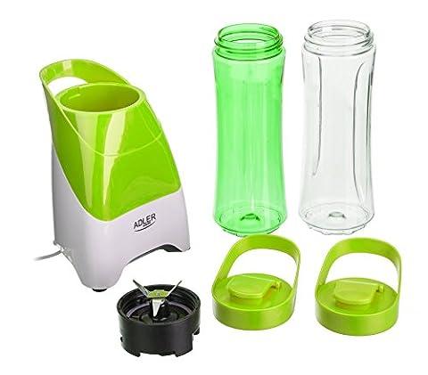 ADLER AD4054g Smoothie maker Blender Mixeur avec 2 gourdes / gobelets / bouteilles de 600 ml et un couteau à légumes | 250 Watt | Machine à smoothie | vert
