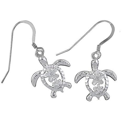Sterling Silber petroglyphe Schildkröte Plumeria Baumeln Ohrringe