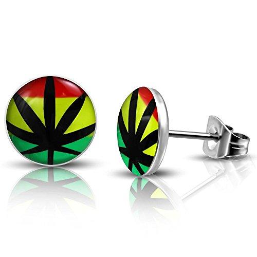 Bungsa Hanf Marihuana Ohrstecker bunt Reggaefarben 7mm - 1 Paar Edelstahl (Ohrringe Ohrschmuck Jamaika Ganja Weed Kiffen Dope Bob Marley Ohrklemmen Damen Frauen Herren Mode Studs Earrings) -