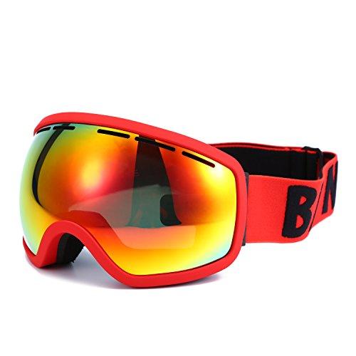 Huntvp® maschera da sci professionale per ragazzi e adulti occhiali da snowboard confortevole e traspirante con lente uv400 anti-nebbia 230mm×90mm
