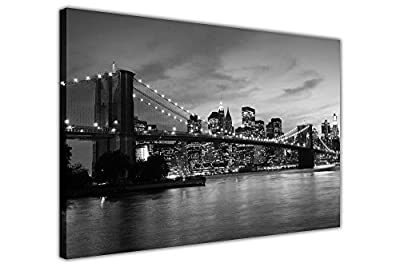Black And White Canvas Wall Art Prints New York City Bridge Pictures Room Decoration Poster Print Picture Landmarks - inexpensive UK light store.