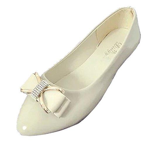 Gaorui Ballerine per donna, con fiocco, eleganti, casual estive, camminate e serate Beige