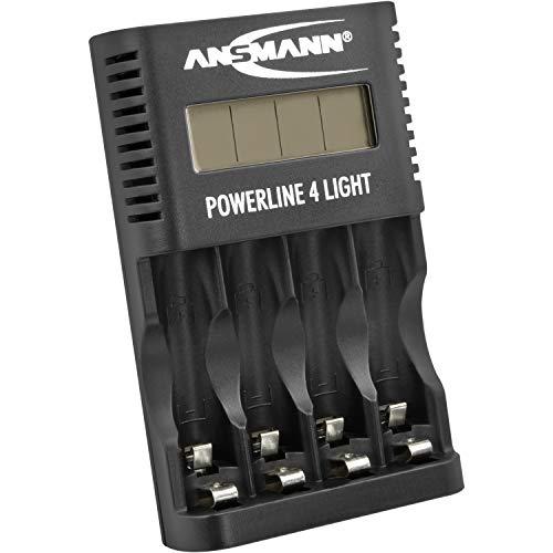 ANSMANN Akku-Ladegerät für 4x AA & AAA NiMH Akkus - Batterieladegerät mit Einzelschachtüberwachung, automatische Abschaltung, Erhaltungsladung, LCD-Display & USB Lader | Powerline 4 Light - Aa-ladegerät-akku