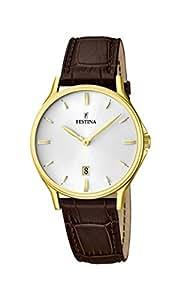 Festina - F16747-1 - Montre Homme - Quartz Analogique - Cadran Argent - Bracelet Cuir Marron