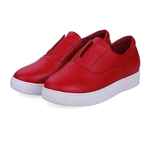 VogueZone009 Femme Couleur Unie Pu Cuir à Talon Bas Rond Fermeture D'Orteil Tire Chaussures Légeres Rouge