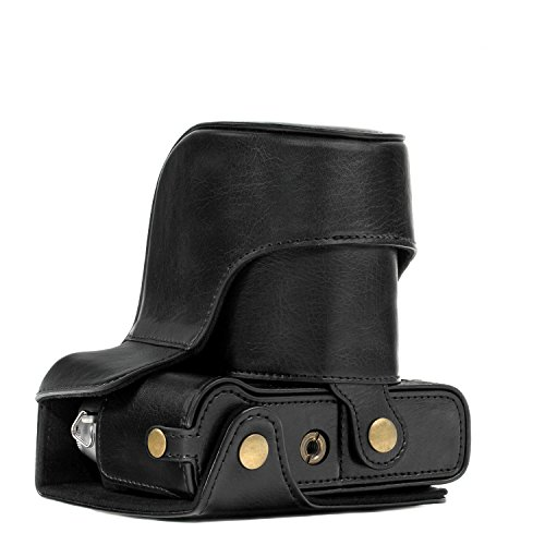 MegaGear MG576 Ever Ready Leder Kameratasche mit Trageriemen kompatibel mit Fujifilm X-T30, X-T20 (16-50mm / 18-55mm Lenses), X-T10 - Schwarz - Leder Lens Case