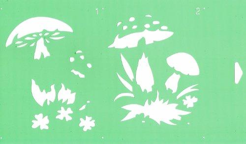 30cm x 17.5cm Pochoir (2 étapes) Réutilisable en PCV Plastique Transparent Souple Trace Gabarit - Traçage Illustration Conception de Gâteau Murs Toile Tissu Meubles Décoration Aérographe Airbrush - Champignons Sauvages