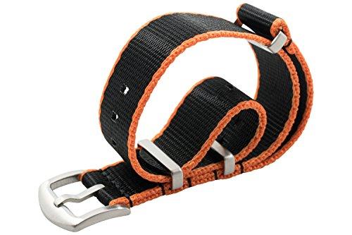 Rolex-uhr Band (WRISTPUNK Uhrenarmband Nato Band schwarz / orange 22 mm 21 mm Nato-Band Ersatz Armband für Uhren in Edelstahl matt und Nylon Gewebe)