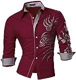 jeansian Herren Freizeit Hemden Shirt Tops Mode Langarmlig Men's Casual Dress Slim Fit (USA XL, Z001_Red)