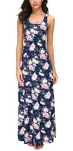 M's Kostüm M Tank Blau Dress & - EXCHIC Damen Ärmelloses Blumenmuster Lang Maxi Kleid Sommer Strandkleider (XL, 3)
