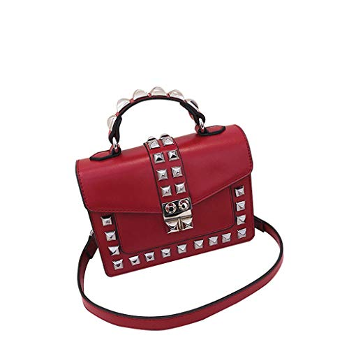 XZDCDJ Crossbody Tasche Frauen Handtasche UmhängeTaschen Wild Messenger Bag Strass One Shoulder Kleine quadratische Tasche Rot - Clubwear Strass