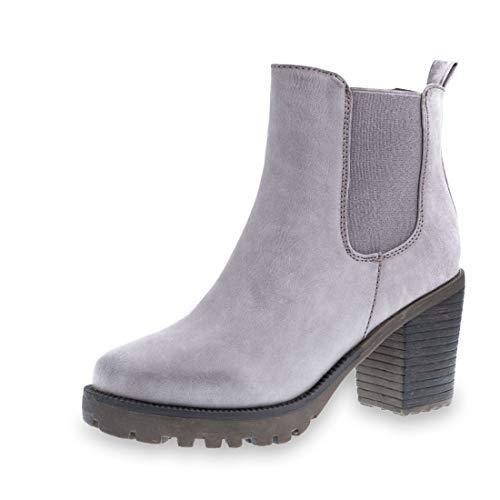 Marimo Stylische Ankle Chelsea Boots mit Blockabsatz in Hochwertiger Lederoptik Dk. Grau 39