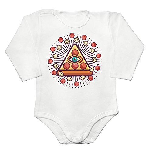 Pizza Illuminati All-Seeing Eye On A Pyramid Baby Long Sleeve Romper Bodysuit Babyspielanzug Extra Large (Weiße 15 Champignons)