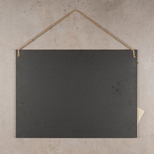 Memotafel Memoboard 55x40cm Tafel Wandtafel aus Holz in weiß gewischt mit Klammern & Kordeln zum Hängen - Landhaus Vintage Shabby Kreide Kreidetafel Küchentafel Wäscheklammer - 5