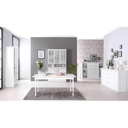 Sideboard in weiß, 4 Schubkästen, 4 Türen, 4 breite Einlegeböden,Metallknöpfe im Vintage-Look,Maße: B/H/T ca. 200/90/40 cm - 4