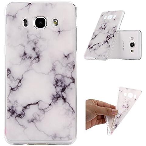 Galaxy J5 (2016) Carcasa , ZXLZKQ Súper Delgado Negro Blanco Natural Mármol 3D TPU Gel Cubierta De Suave Silicona Funda Tapa para Samsung Galaxy J5 (2016) SM-J510FN (no para Galaxy J5 2015)