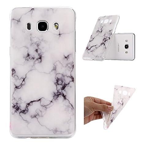 ZXLZKQ pour Galaxy J5 (2015) Etui Transparent Soft TPU Silicone Housse Case Protecteur Naturel Marbre motif Noir Blanc Coque pour Samsung Galaxy J5 (2015) (non applicable J5 2016)
