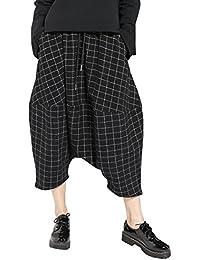 ELLAZHU Women Baggy Elastic Waist Plaid Print Cropped Harem Pants GY1153 A