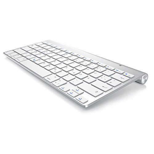 CSL - Bluetooth Tastatur im Mac Style | kabelloses Keyboard | Multimediatasten | QWERTZ-Layout | Für iOS Android Windows | kompatibel mit PC Notebook Mac MacBook Pro Smartphone Tablet | schwarz