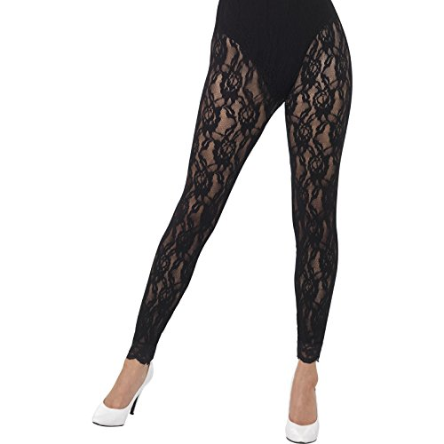 Smiffys Damen 80er Jahre Spitzen-Leggings, One Size, Schwarz, 44512 (Halloween-leggings Damen)