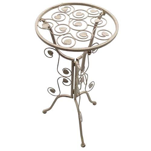 PrimoLiving Metall Beistelltisch Tisch P-9510 im Shabby-Look in Antik-Weiß Creme -