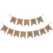 Guirnalda Rústica de Arpillera de Cumpleaños – Decoraciones de Cumpleaños de Calidad Superior de The Sterling James Company