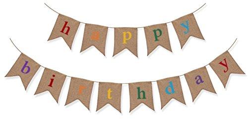 Banner rustico in iuta di buon compleanno - decorazioni per feste di compleanno di qualità premium da the sterling james company