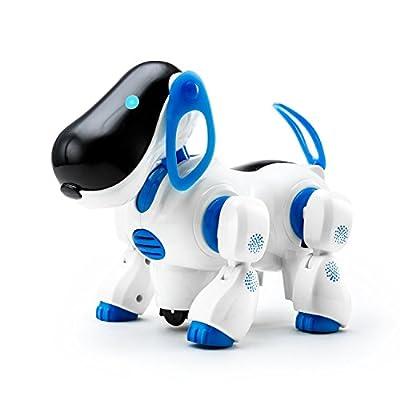 Playtech Logic Electronic Puppy Robot Dog Light Up Girls Boys Juguetes con sonido para niños, Pet Nodding Barking y Walking Dog Toy con función Bump and Go, Azul