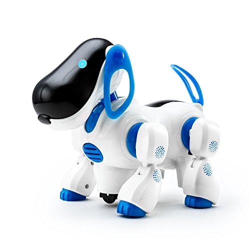 Playtech Logic Digital Pet Robotic Canine Gentle Up Ladies Boys Toys with Sound for Youngsters, Pet Nodding Barking and Strolling Canine Toy with Bump and Go Operate, Blue