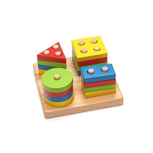 Toymytoy puzzle forme geometriche legno impilatore giocattoli montessori blocchi costruzioni in legno per bambini