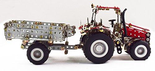 RC Auto kaufen Traktor Bild 4: Tronico 09581 - Metallbaukasten Traktor Case IH Magnum 340 mit Kippanhänger und Fernsteuerung, Maßstab 1:64, Micro Serie, rot, 461 Teile*