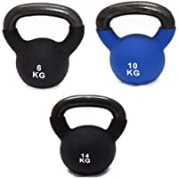 FXR SPORTS CAST IRON SET OF 6/10/14kg KETTLEBELLS WITH RUBBER SLEEVE HOME GYM