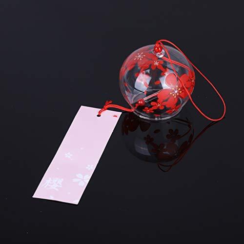 Windspiele -Japan Stil Wind Bell Handpaint Sakura Glas Windspiele Wind Glocken Hausgarten Büro Hängende Dekorationen Blau -